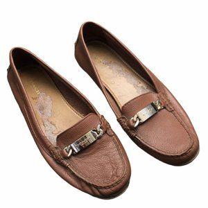 COACH Brown Olive A7751 Loafers Gold Detail Size 9